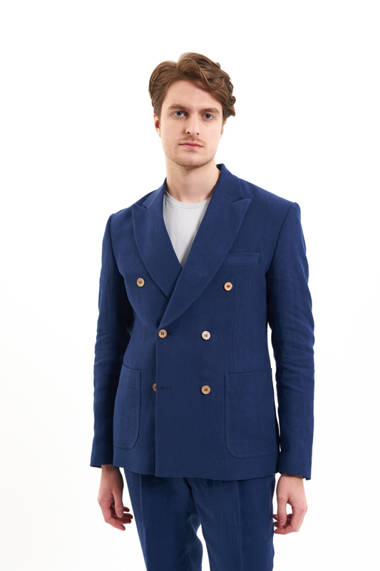 Navy Bucovina Hemp Suit Jacket