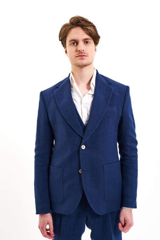 Navy Roman Hemp Suit Jacket