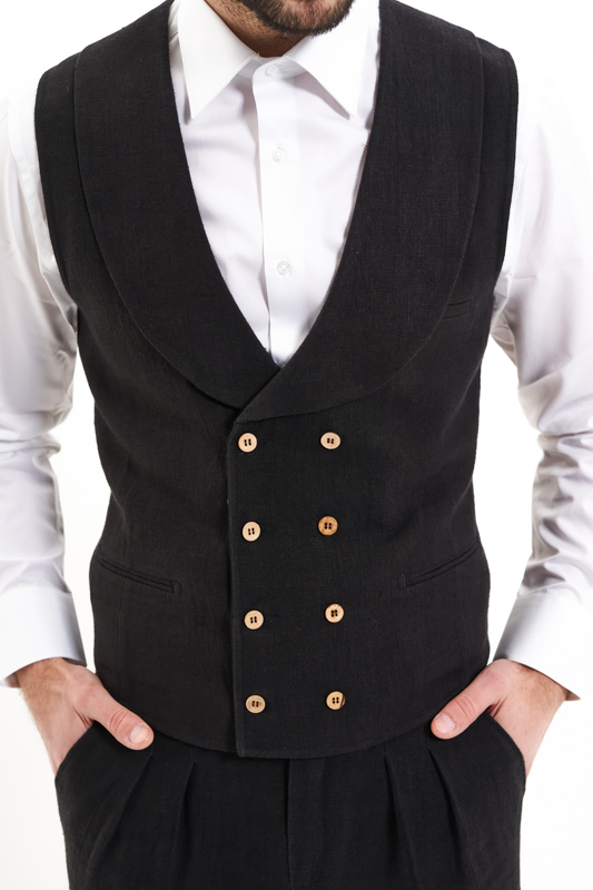 Black Dobrogea Hemp Waistcoat