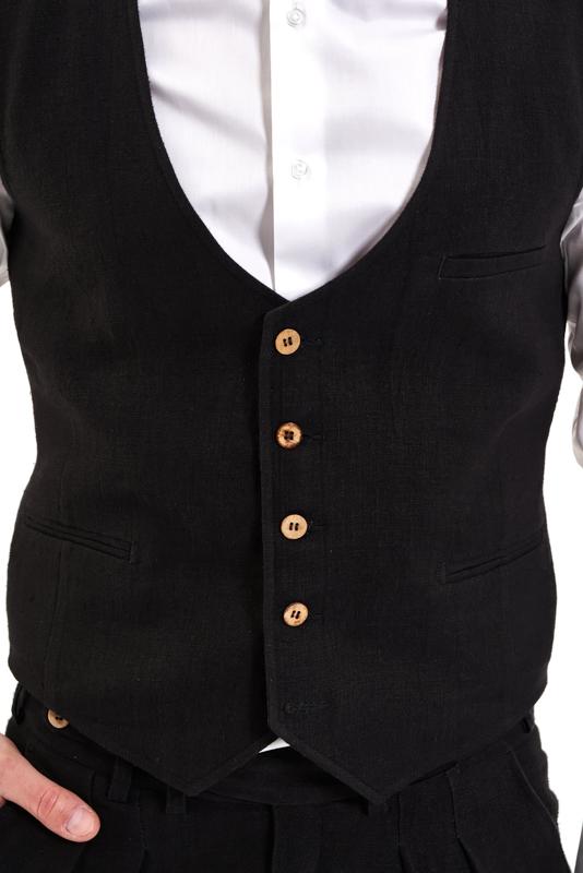 Black Banat Hemp Waistcoat