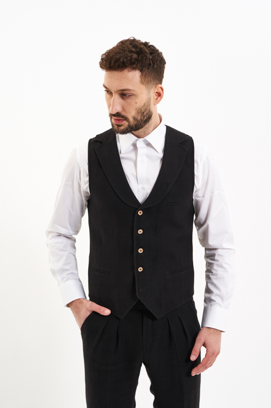 Black Oltenia Hemp Waistcoat