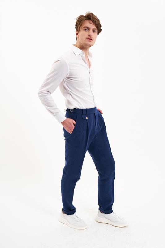Navy Muntenia Hemp Trousers
