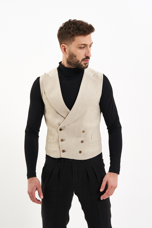 Beige Basarabia Hemp Waistcoat