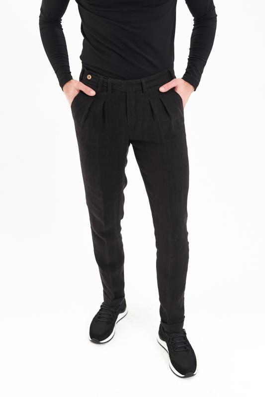 Black Crisana Hemp Suit Trousers