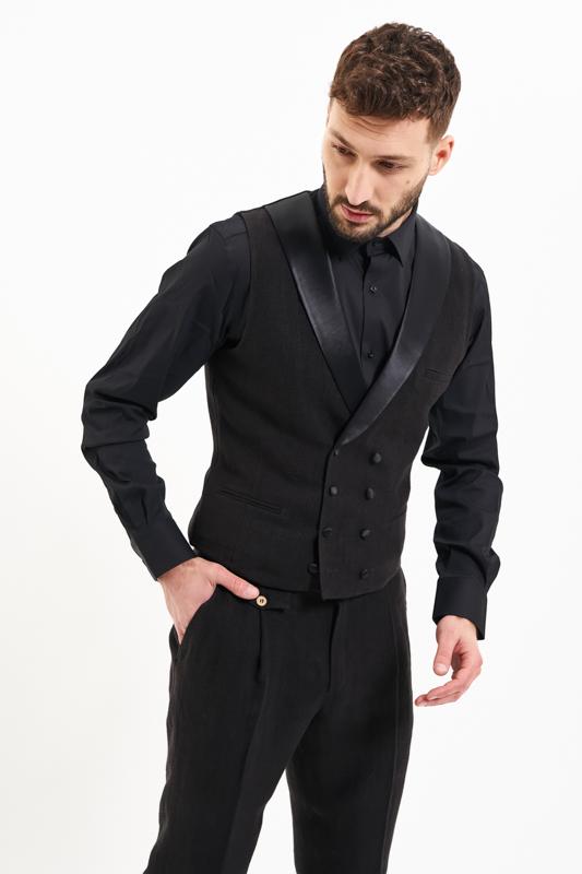 Black Bucegi Hemp Waistcoat