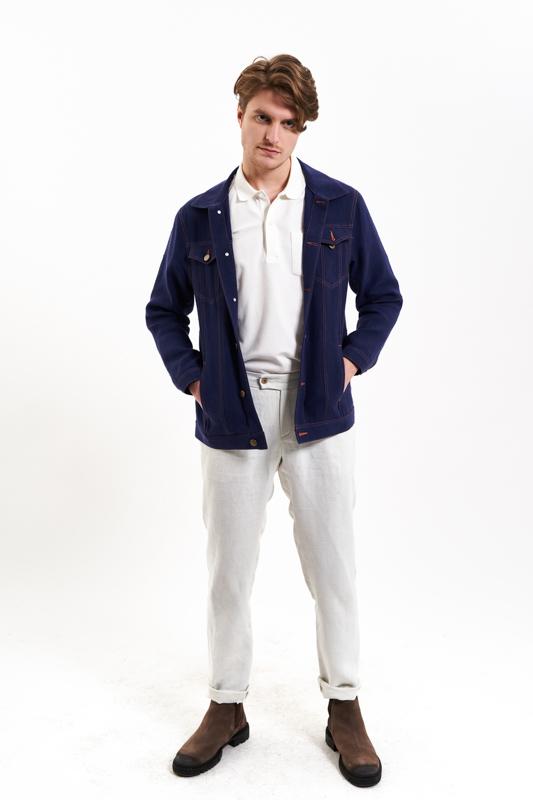 Navy Denim Hemp Jacket