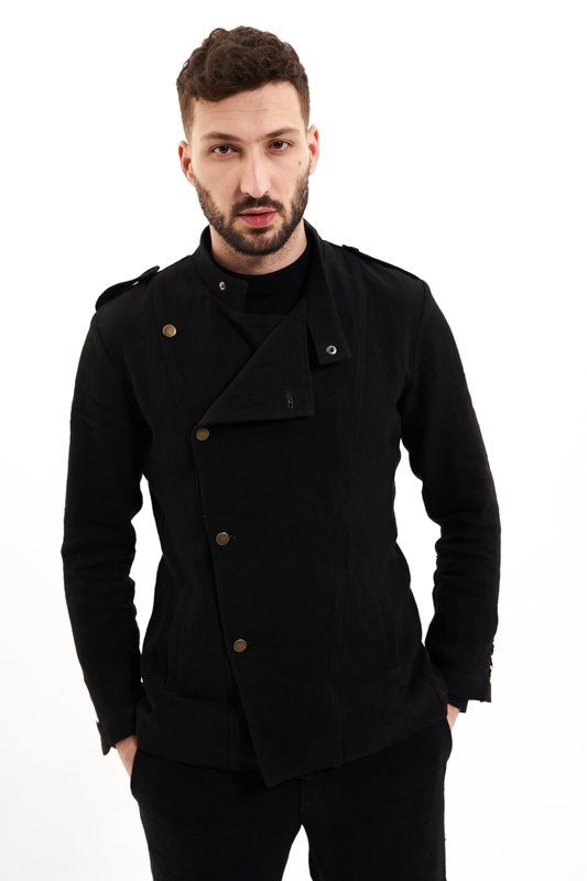 Black Military Hemp Jacket
