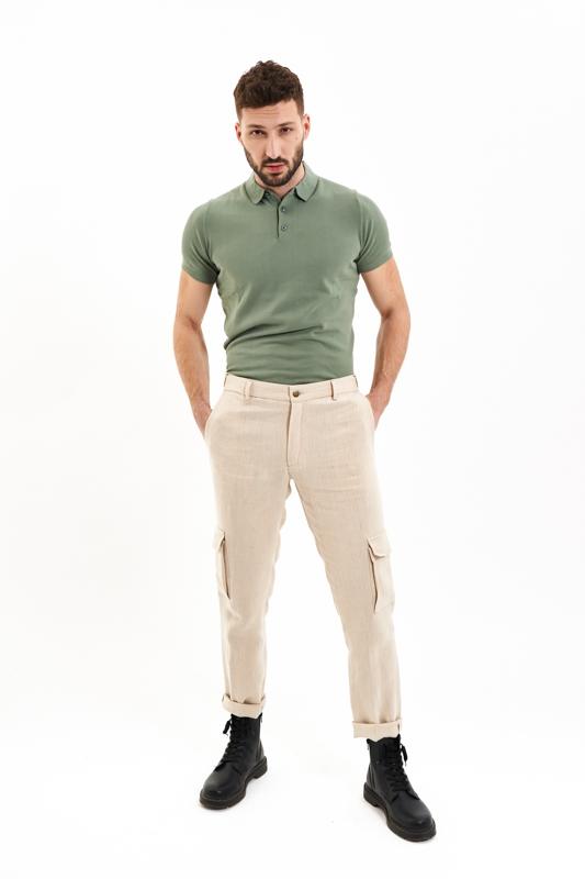 Beige Cargo Hemp Trousers
